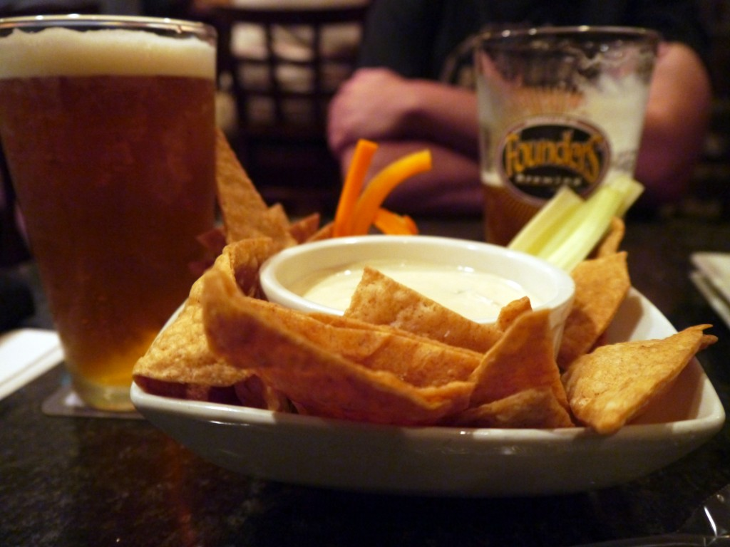 Cheese dip with house made chips